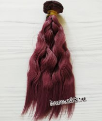 Волосы (трессы) кукольные волнистые 15см цвет слива