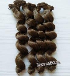 Волосы (трессы) кукольные с кудрями 15см цвет пепельно-русый