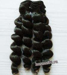Волосы (трессы) кукольные с кудрями 15см цвет чёрный