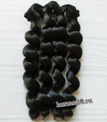 Волосы (трессы) кукольные с кудрями 15см цвет иссиня-чёрный