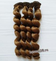 Волосы (трессы) кукольные с кудрями 15см цвет золотисто-русый