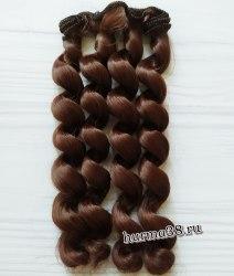 Волосы (трессы) кукольные с кудрями 15см цвет мускатный орех