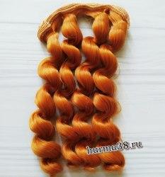Волосы (трессы) кукольные с кудрями 15см цвет медный