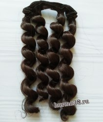 Волосы (трессы) кукольные с кудрями 15см цвет эспрессо