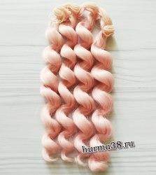 Волосы (трессы) кукольные с кудрями 15см цвет розово-персиковый