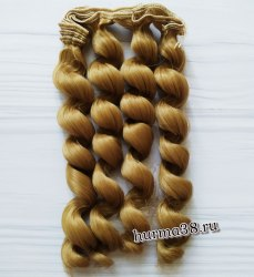 Волосы (трессы) кукольные с кудрями 15см цвет блонд