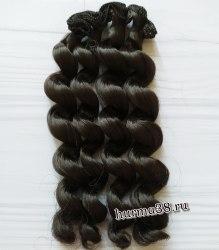 Волосы (трессы) кукольные с кудрями 15см цвет тёмный шатен
