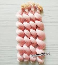 Волосы (трессы) кукольные с кудрями 15см цвет розовый