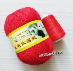 Пряжа Пух Норки цвет 16 красный