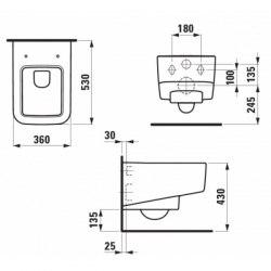 Унитаз подвесной Laufen Pro S (безободковый) с крышкой Soft Close