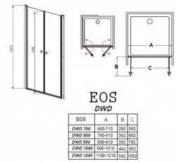 Душевая дверь Radaway EOS DWD 70, 80, 90, 100, 120