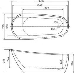 Ванна акриловая BelBagno BB15 173x77