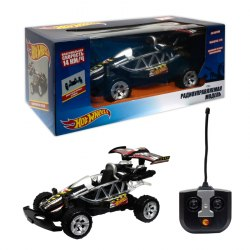 Hot Wheels машинка багги на р/у,1:20, со светом, на батарейках, чёрная 1Toy Т10974