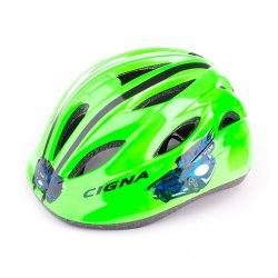 Шлем велосипедный детский Cigna WT-021 (чёрный/зелёный)
