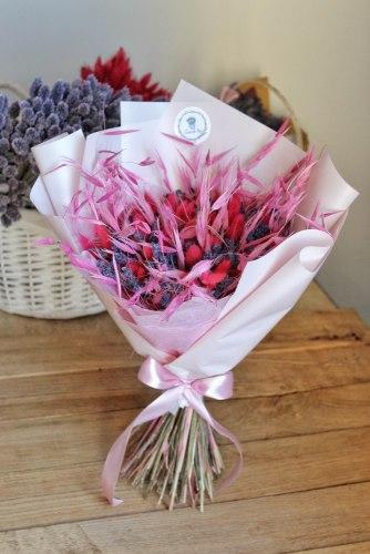 """Букет-макси """"Розовый фейерверк"""" из сухоцветов"""