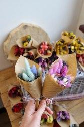 Букет-мини из сухоцветов разноцветный (набор из 5 штук)