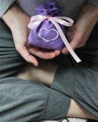 """Саше-мешочек тканевое фиолетовое с вышивкой """"сердечко"""""""