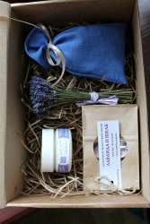 Набор с синим саше-мешочком в крафт-коробке