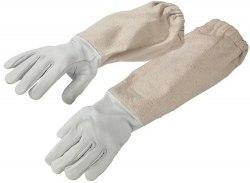 Перчатки с нарукавниками из натуральной кожи (ткань белая двунитка) размеры: L, XL, XXL