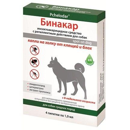 Бинакар капли на холку для собак (1 мл/4 пипетки)