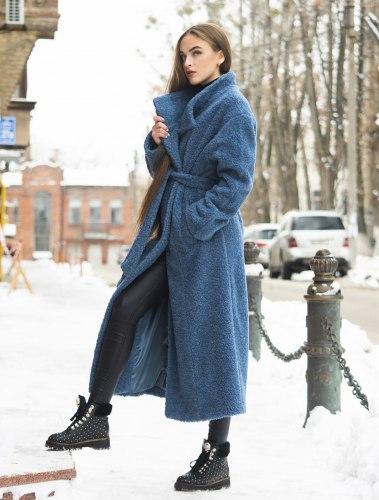 Пальто-шубка длинное с поясом, шерсть Millennium 524