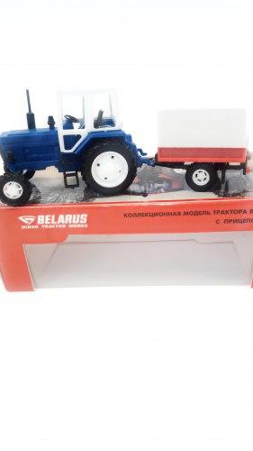 """Сувенир-масштабная модель трактора """"Belarus-82"""" (пластик) с прицепом будка 502"""