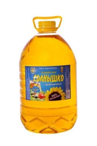 Масло подсолнечное рафинированное Солнышко 5 литров