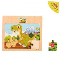 Пазл деревянный малый Динозаврики с мамой