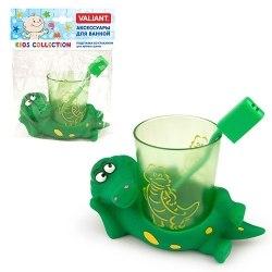 Подставка со стаканом для зубных щеток Крокодильчик Valiant VALIANT