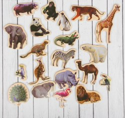 """Деревянный набор из 20 магнитов """"Дикие животные"""""""