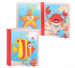 "Книга-пазл для малышей ""Морские обитатели"" 6 картинок"