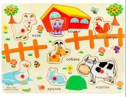 """Деревянный пазл для малышей """"Животные фермы"""""""
