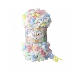 Alize Puffy Fine Color цвет 5949 белый голубой желтый роза мята Alize 100% микрополиэстер, длина 14 м в мотке