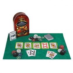 Набор для покера в жестяном боксе. Пластик, металл. размер 24х15 см.