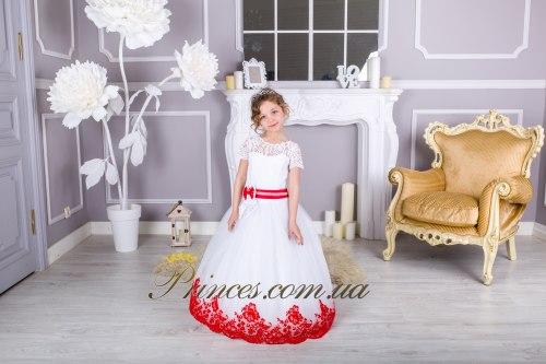 Белое платье с красним бархатним кружевом ВАЛЕРИ