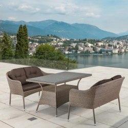 Обеденный комплект плетеной мебели из искусственного ротанга T198B/S54B-W56 Light brown