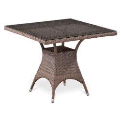 Плетеный стол из искусственного ротанга T220BG-W1289-90x90 Pale