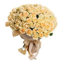 """Букет из 101 розы """"Крем"""" Кремовые розы"""