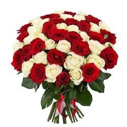 """Букет из 51 розы """"Смешанные эмоции"""" Белые розы"""
