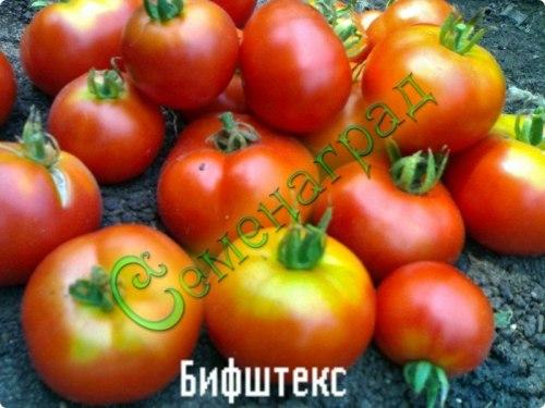 Семена томатов Бифштекс - среднерослый, до 200 г, чуть плоский, урожайный. Семенаград - семена почтой