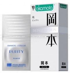 """Японские презервативы """"Okamoto Skinless Skin Purity"""" (увеличенный размер) в411-43б"""