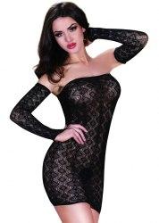 Эротическое ажурное платье с митенками