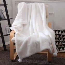 """Плед двойной с помпонами """"Белый кролик"""" (150*200) в411-53"""