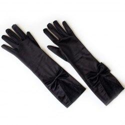Перчатки атласные с кружевом и бантом