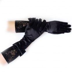 Перчатки атласные с кружевом и бантом г101-10