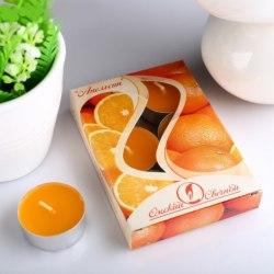 """Набор чайных свечей в гильзе """"Апельсин"""" в подарочной коробке, 6 шт"""
