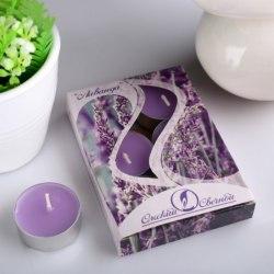"""Набор чайных свечей в гильзе """"Лаванда"""" в подарочной коробке, 6 шт"""