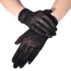 """Перчатки чёрные короткие сетчатые с цветочным орнаментом """"Клевер"""""""