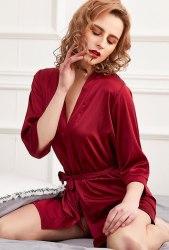 Бордовый короткий халат из искусственного шелка SIZE+