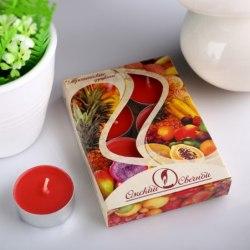 """Набор чайных свечей в гильзе """"Тропические фрукты"""" в подарочной коробке, 6 шт"""